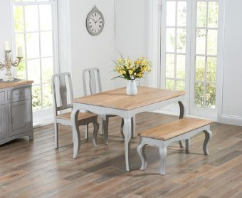 Parisian 130cm Grey Shabby Chic Dining Table with Chairs and Benches