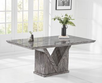 Mocha 160cm Grey Marble Dining Table