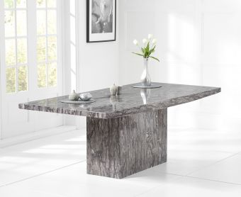 Crema 220cm Grey Marble Dining Table