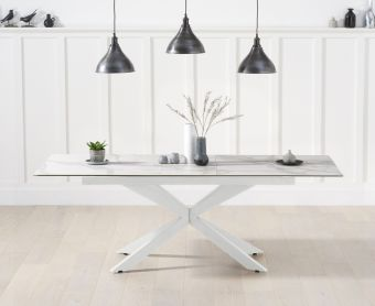 Bellagio 180cm Extending White Ceramic Dining Table with White Leg