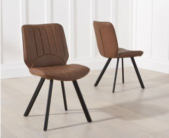 Dali Brown Faux Leather Dining Chairs (Pairs)