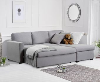 Everson Grey Linen Reversible Chaise Sofa Bed