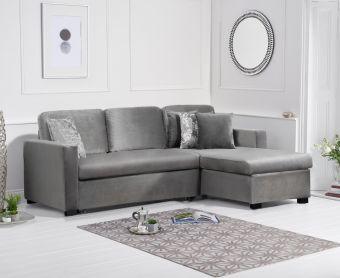 Everson Grey Velvet Reversible Chaise Sofa Bed