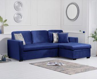 Everson Blue Velvet Reversible Chaise Sofa Bed
