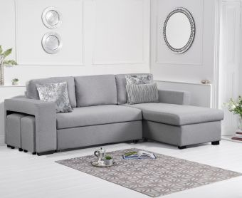 Lina Grey Linen Reversible Chaise Sofa Bed