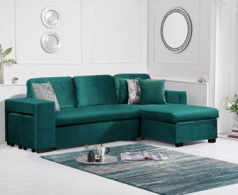 Lina Green Velvet Reversible Chaise Sofa Bed