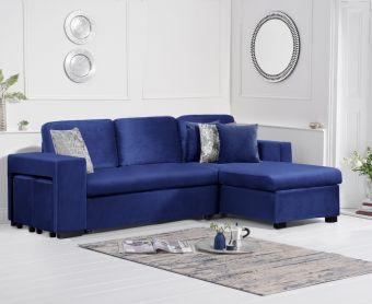 Lina Blue Velvet Reversible Chaise Sofa Bed