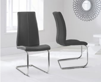 Tarin Grey Faux Leather Hoop Leg Dining Chairs (Pairs)