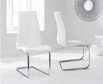 Tarin White Faux Leather Hoop Leg Dining Chairs (Pairs)