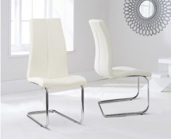 Tarin Cream Faux Leather Hoop Leg Dining Chairs (Pairs)