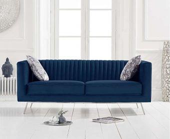 Darbie Blue Velvet 2 Seater Sofa