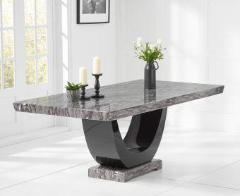 Raphael 200cm Grey Pedestal Marble Dining Table