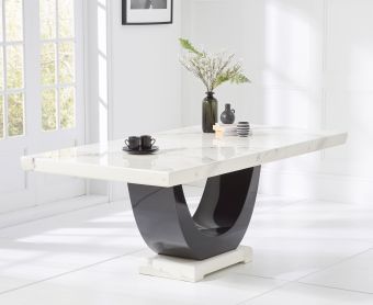 Raphael 200cm White and Black Pedestal Marble Dining Table
