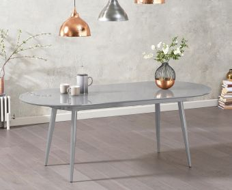Olivia Extending Light Grey High Gloss Dining Table