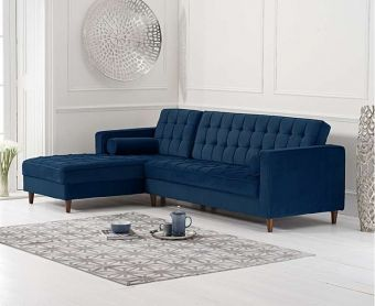 Arena Blue Velvet Left Facing Chaise Sofa