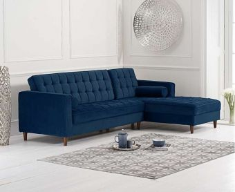 Arena Blue Velvet Right Facing Chaise Sofa