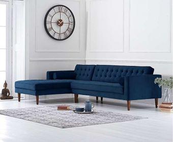 Ilana Blue Velvet Left Facing Chaise Sofa
