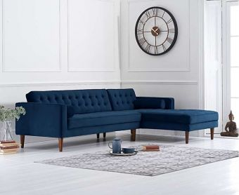 Ilana Blue Velvet Right Facing Chaise Sofa