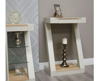 Z Painted Small Hall Table with Natural Oak Top
