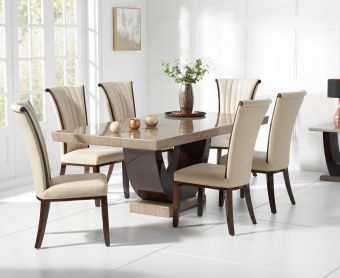 Raphael 170cm Brown Pedestal Marble Dining Table with Alpine Chairs
