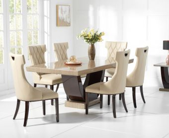 Raphael 170cm Brown Pedestal Marble Dining Table with Freya Chairs