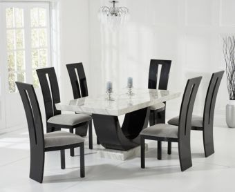 Raphael 170cm Cream and Black Pedestal Marble Dining Table with Verbier Chairs