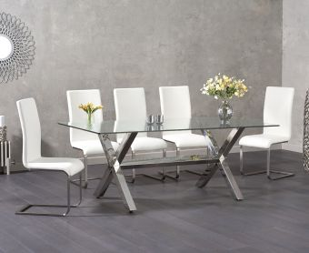 Rexford 200cm Glass Dining Table with Malaga Chairs