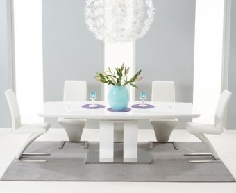 Richmond 180cm White High Gloss Extending Dining Table with Hampstead Z Chairs