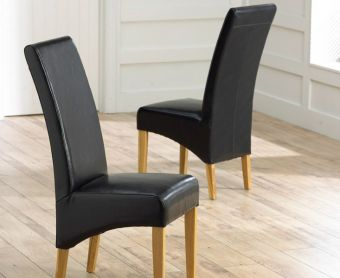 Cannes Brown Bonded Leather Dining Chairs (Pairs)