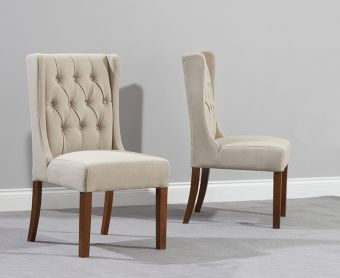 Safia Beige Fabric Dark Oak Leg Dining Chairs (Pairs)