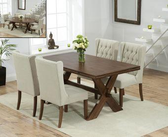 Bordeaux 165cm Dark Oak All Sides Extending Table with Safia Fabric Dark Oak Leg Chairs