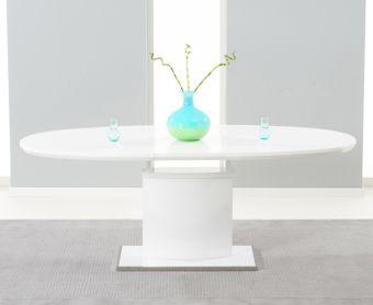 Santana 160cm White High Gloss Extending Pedestal Dining Table