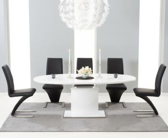 Santana 160cm White High Gloss Extending Pedestal Dining Table with Hampstead Z Chairs