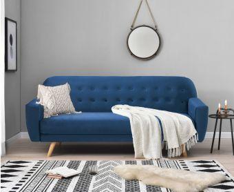 Scarla Blue Velvet Sofa Bed