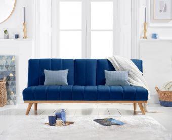 Sloane 3 Seater Sofa Bed in Blue Velvet