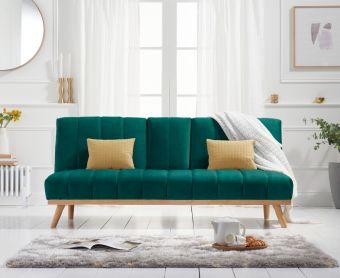 Sloane 3 Seater Sofa Bed in Green Velvet
