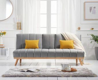 Sloane 3 Seater Sofa Bed in Grey Velvet