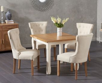 Somerset 90cm Flip Top Oak and Cream Dining Table with Cora Cream Fabric Chairs