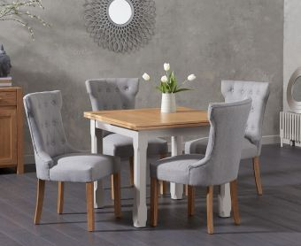 Somerset 90cm Flip Top Oak and Grey Dining Table with Cora Grey Fabric Chairs