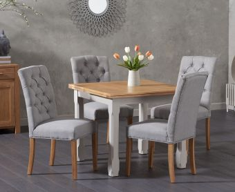 Somerset 90cm Flip Top Oak and Grey Dining Table with Candice Grey Fabric Chairs