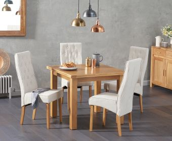 Somerset 90cm Flip Top Oak Table with Jasper Fabric Chairs