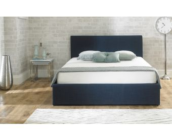 Sterling Blue Fabric Ottoman King Size Bed