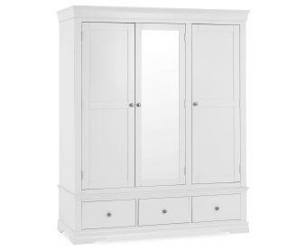 Budapest White Large Three Door Wardrobe