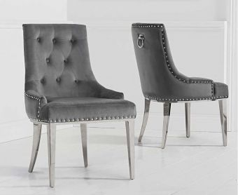 Talia Grey Velvet Dining Chairs