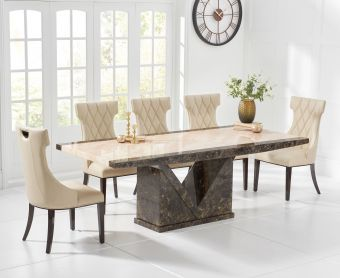 Tenore 180cm Marble Effect Dining Table with Freya Chairs