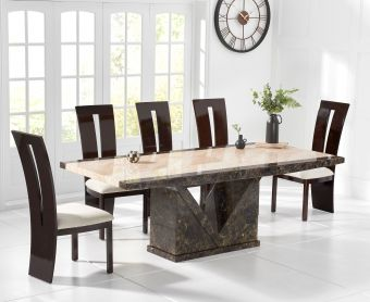 Tenore 180cm Marble Effect Dining Table with Verbier Chairs