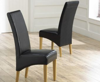 Cannes Black Bonded Leather Dining Chairs (Pairs)
