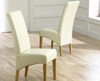 Cannes Cream Bonded Leather Dining Chairs (Pairs)