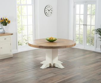 Torino 150cm Oak & Cream Pedestal Dining Table