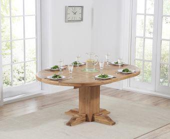 Torino Solid Oak Extending Pedestal Dining Table